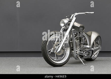 Motorcycle, chopper AMG, diagonal, tilted front view, silver, design motorcycle, - Stock Photo