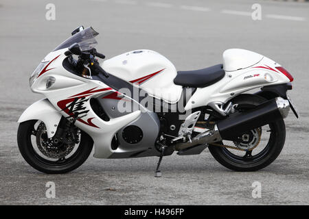 Motorcycle, Hayabusa GSX 1300 R, Sporttourer, vertical, left page, - Stock Photo