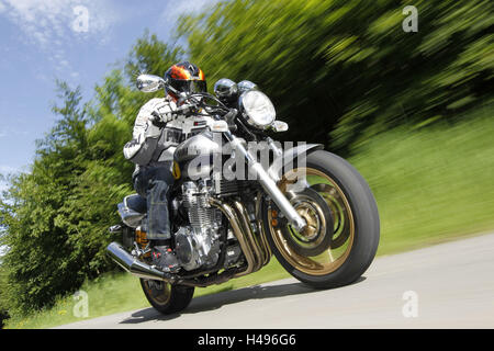 Motorcyclist Motorcycle Yamaha XJR 1300 Country Road Panning