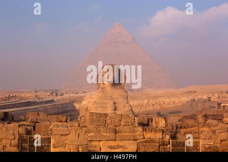Egypt, Cairo, sphinx, Chephren pyramid, - Stock Photo
