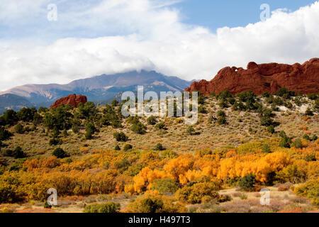 Autumn in Garden of the Gods Colorado - Stock Photo