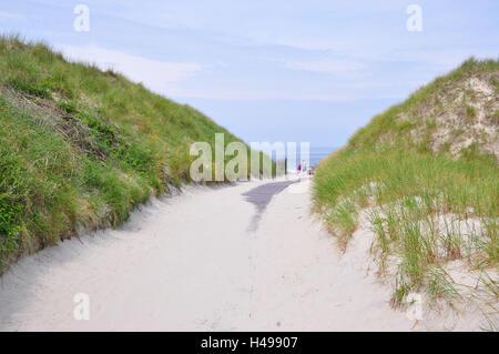 Germany, Lower Saxony, Norderney, North Sea island, beach way, dunes, - Stock Photo