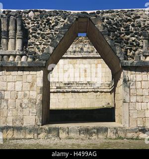 Mexico, peninsula Yucatan, Uxmal, Cuadrangulo de off Pajaros, detail, Central America, Latin America, destination, - Stock Photo