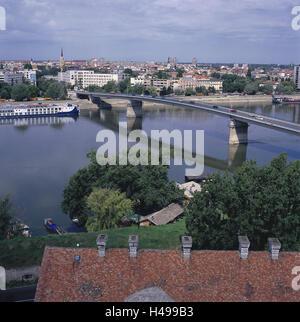 Serbia, Vojvodina, Novi Sad, town view, river Danube, Europe, Southeast, Europe, Balkan Peninsula, town, city, bridge, - Stock Photo