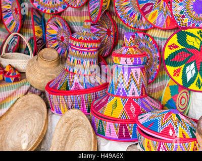Traditional Ethiopian handmade Habesha baskets sold in Axum, Ethiopia. - Stock Photo