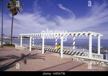Spain, Andalusia, Costa del Sol, Fuengirola, seafront, tourist, beach, tourism, person, vacation, beach vacation, - Stock Photo