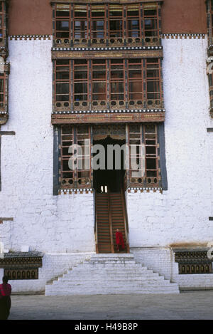 Bhutan, Thimphu, cloister fortress Dzong, stairs, monk, Asia, the Himalayas, kingdom, Westbhutan, capital, cloister, - Stock Photo