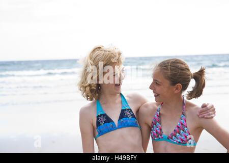 Girls on the beach, portrait, - Stock Photo