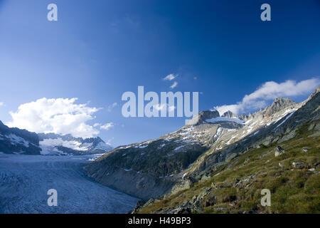 Switzerland, Furkapass, Furka, Rhone glacier, Rhone source, - Stock Photo