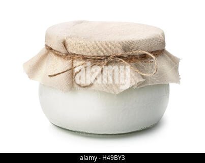 Pot of homemade organic yogurt isolated on white - Stock Photo
