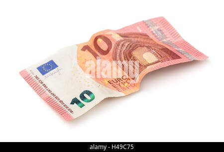 Crumpled ten euros banknote isolation on white - Stock Photo