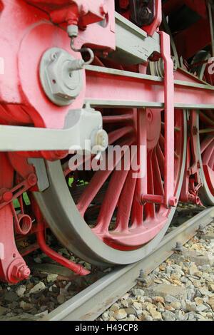 Steam locomotive, wheels, detail, - Stock Photo