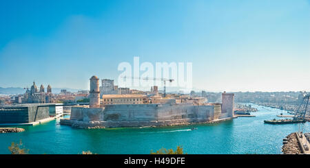 Fort Saint-Jean is a fortification in Marseille, built by Louis XIV at the entrance to the Old Port. - Stock Photo