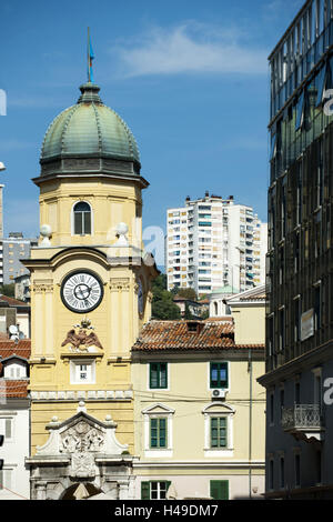 Croatia, Rijeka, town tower in the Korzo, - Stock Photo