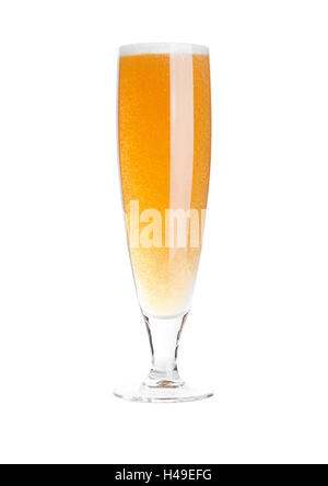 Glass of beer cider with foam golden color on white background - Stock Photo