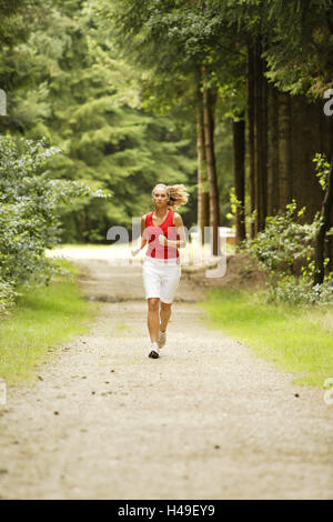 Forest way, woman, young, jog, model released, wood, park, way, sport, sportily, motion, Walking, Powerwalking, - Stock Photo