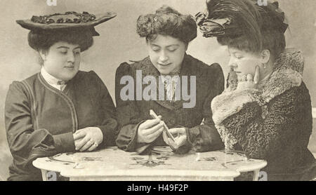 Nostalgia, Women, Fortune Teller, reading the cards, b/w, postcard, nostalgic, - Stock Photo