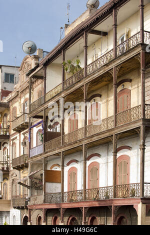 Egypt, port Said, architecture from the colonial age in the Palestine, - Stock Photo