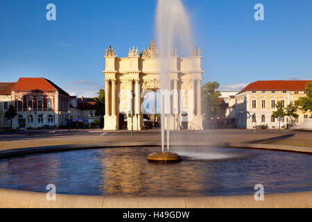 fountain and brandenburg gate potsdam germany stock photo royalty free image 61792498 alamy. Black Bedroom Furniture Sets. Home Design Ideas