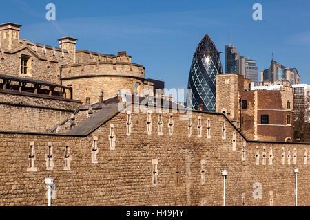 UK, London, Tower, Swiss Re Tower, - Stock Photo