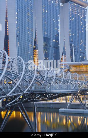 Helix bridge, Marina Bay Sands, Singapore, - Stock Photo