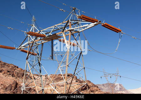 USA, Arizona and Nevada, Hoover Dam, power poles, - Stock Photo
