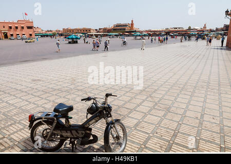 During the day Jamaa el Fna is almost empty place - Stock Photo