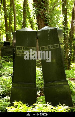Historical, cemetery, gravestone, Judaism, Berlin, - Stock Photo