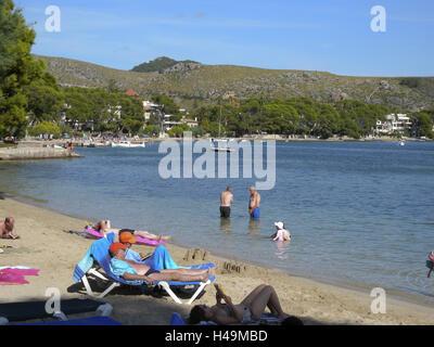 Beach in port de Pollenca, Majorca, Spain, - Stock Photo