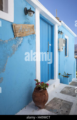 Greece, Karpathos, Pigadia, house facade, cafe bar, entrance, local view, - Stock Photo