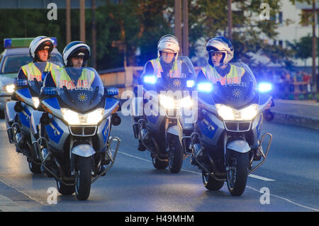 Police motorcycles with blue light, Dresden, Saxon, Germany, - Stock Photo