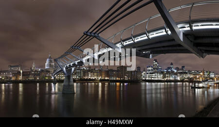 Millenium Bridge, night photography, city view with St. Paul's Cathedral, the Thames, London, England, Great Britain, - Stock Photo