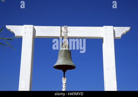 Greece, Dodekanes, island Fondling, agio Theologos, bell, island group, Mediterranean island, the Aegean Sea, faith, - Stock Photo