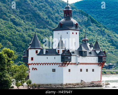 Pfalzgrafenstein Castle and Toll Station, a  fairytale castle in the middle of the  Rhine Gorge, Germany, Europe - Stock Photo