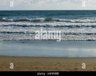 Grain Canaria, Atlantic coast, gentle waves in the sandy beach Playa Maspalomas, - Stock Photo
