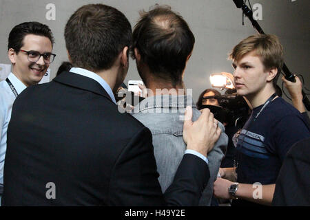 Paris, France. 14th October, 2016. Emmanuel Macron stikes a pose for a selfie with a young amn at Hello Tomorrow - Stock Photo