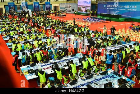 Changchun, China's Jilin Province. 15th Oct, 2016. Contestants take part in robot programming competition during - Stock Photo