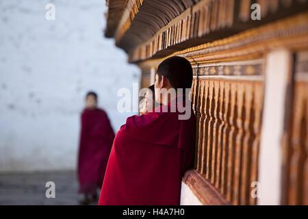 Kingdom Bhutan, monks in the Paro Dzong, - Stock Photo