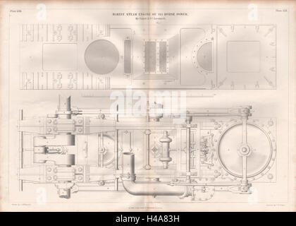 19C ENGINEERING DRAWING. 145 HP marine steam engine. Caird & Co. Greenock 2 1847 - Stock Photo
