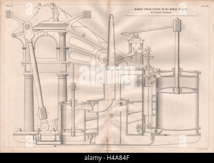 19C ENGINEERING DRAWING. 145 HP marine steam engine. Caird & Co. Greenock 3 1847 - Stock Photo