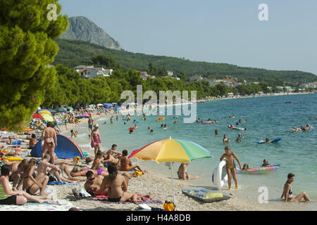 Croatia, Dalmatia, Makarska Riviera, Tucepi, beach in front of the hotel Kastelet, - Stock Photo