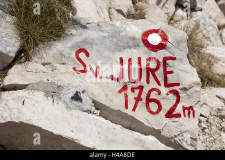 Croatia, Dalmatia, Makarska, nature reserve Biokovo, on the third-highest mountain Croatia, the Sveti Jure, 1762 - Stock Photo