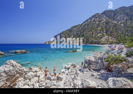 Greece, Karpathos, Apella, bathing bay, - Stock Photo