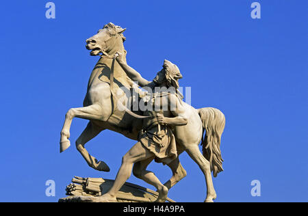 Germany, Mecklenburg-West Pomerania, Schwerin, Schweriner lock, castle bridge, statue, horse tamer, castle lake, - Stock Photo