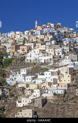 Greece, Karpathos, view at the mountain village Olympos, - Stock Photo