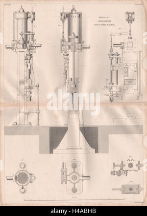 VICTORIAN ENGINEERING DRAWING. James Nasmyth's patent steam hammer details 1847 - Stock Photo