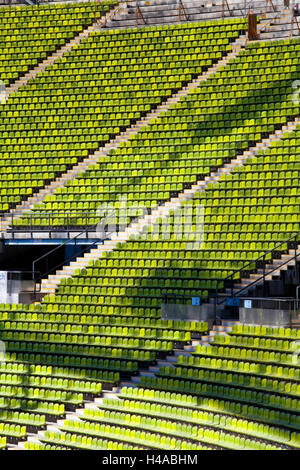 Seats in the Olympic stadium, Munich, Germany, Europe, - Stock Photo