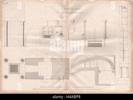 19C ENGINEERING DRAWING Wrought iron furnace. Nasmyth's patent steam hammer 1847 - Stock Photo
