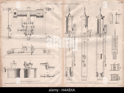 VICTORIAN ENGINEERING DRAWING. James Nasmyth's steam pile driver details 1847 - Stock Photo