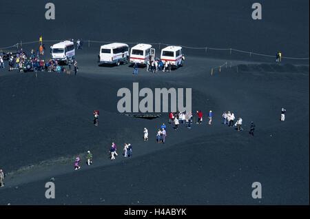 Italy, Sicily, Etna, parking lot, vehicles, tourists, - Stock Photo